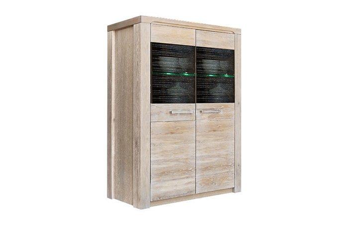 Шкаф с витриной Стромберг светло-бежевого цвета