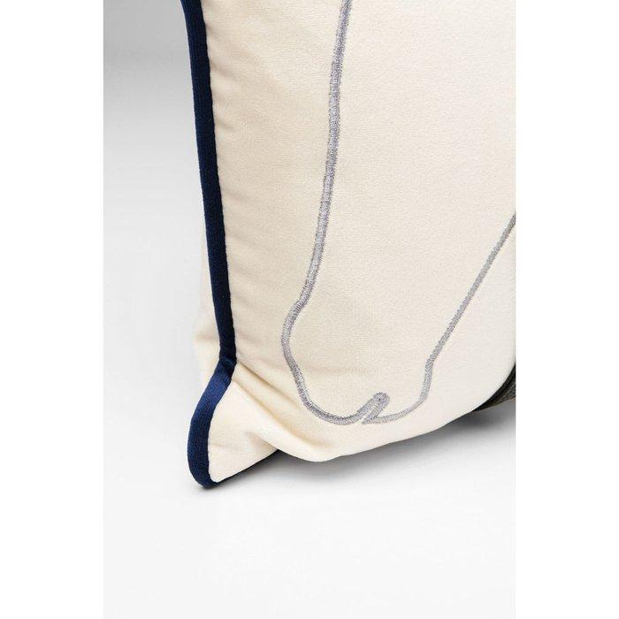 Подушка Horses бело-синего цвета