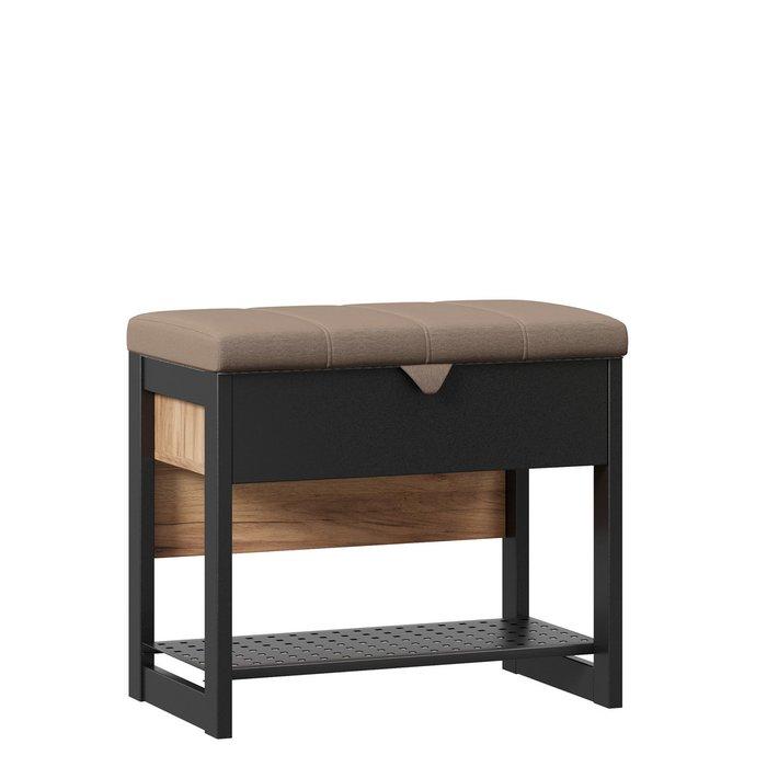 Банкетка Техно коричнево-черного цвета