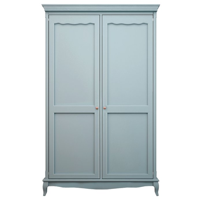 Голубой шкаф для одежды из массива березы Leontina