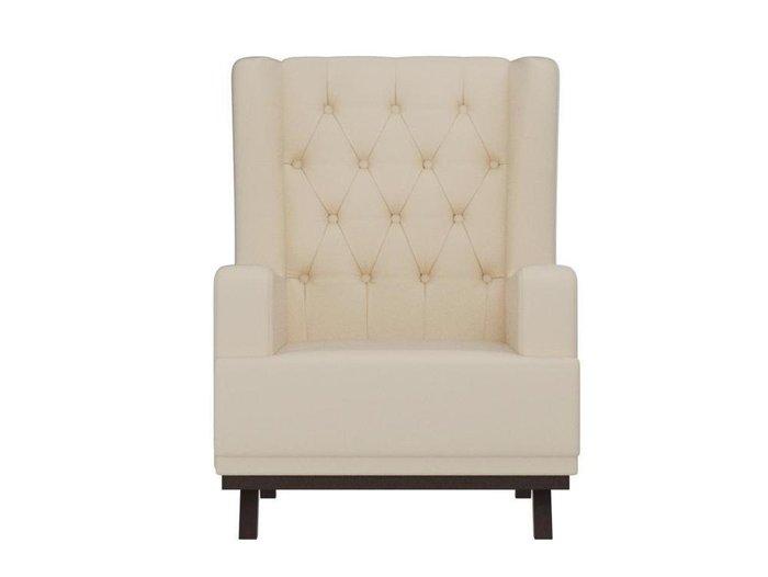 Кресло Джон Люкс бежевого цвета (экокожа)