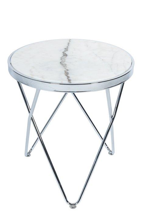 Приставной столик Zarina с основанием серебряного цвета