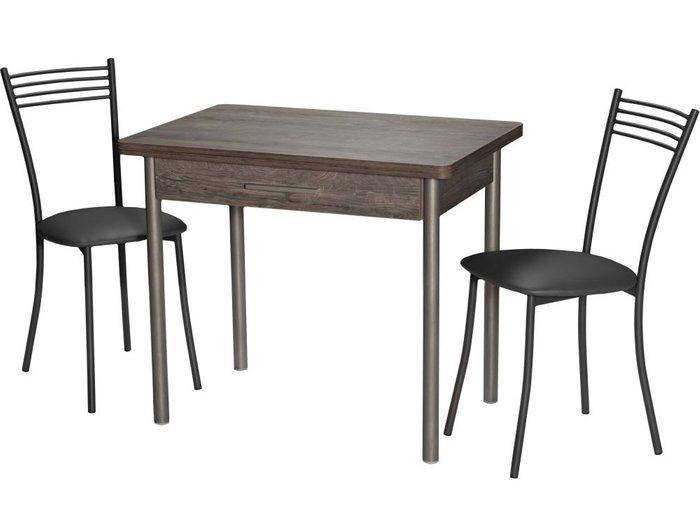 Стол раздвижной серо-коричневого цвета