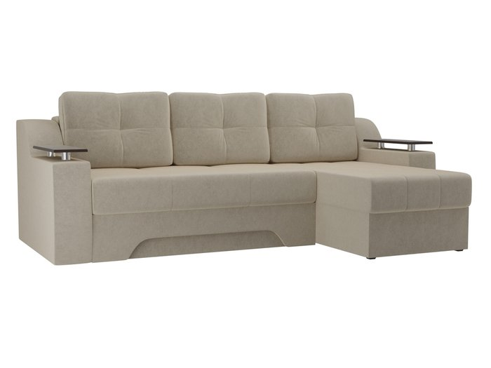 Угловой диван-кровать Сенатор бежевого цвета