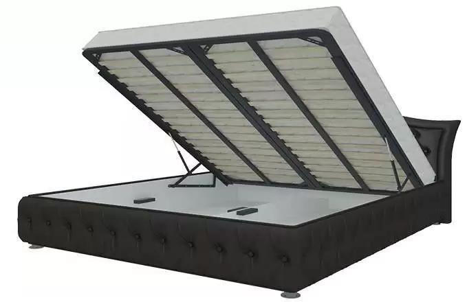 Кровать Герда 140х200 темно-коричневого цвета с подъемным механизмом (экокожа)
