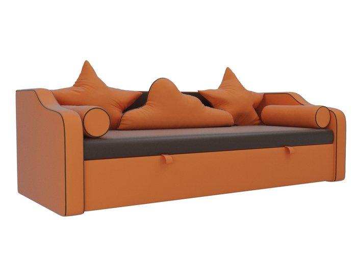 Прямой диван-кровать Рико оранжево-коричневого цвета (экокожа)