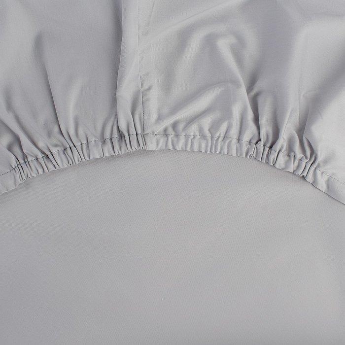 Простыня на резинке из сатина серого цвета 160х200