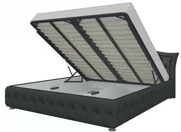 Кровать Герда 140х200 черного цвета с подъемным механизмом (экокожа)