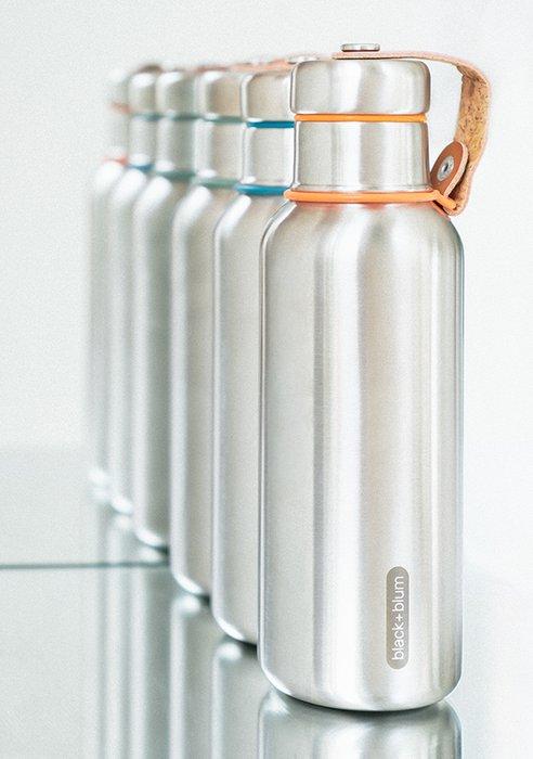 Фляга Water Bottle бирюзовая из нержавеющей стали с пластиковой крышкой