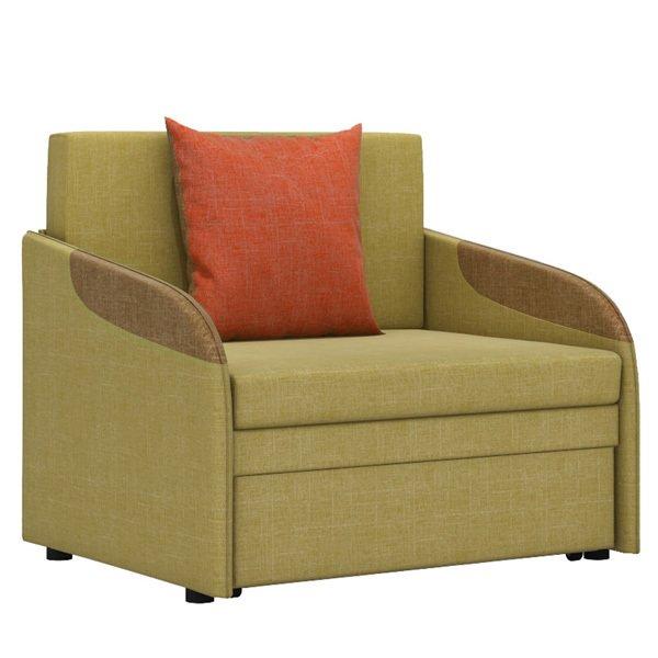 Кресло-кровать Громит S в обивке из велюра горчичного цвета