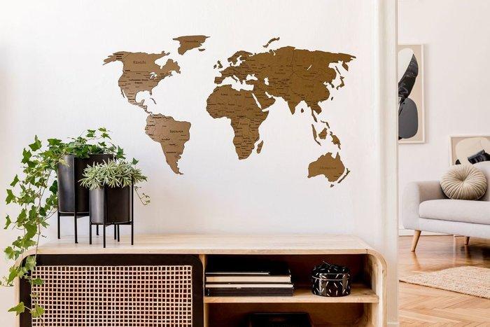 Деревянная карта мира Countries Rus с гравировкой коричневого цвета