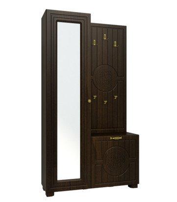 Шкаф с вешалкой левый Монблан темно-коричневого цвета