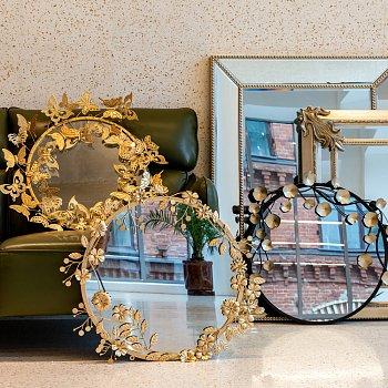 Настенное зеркало Гарленд Роуз цвета розового золота
