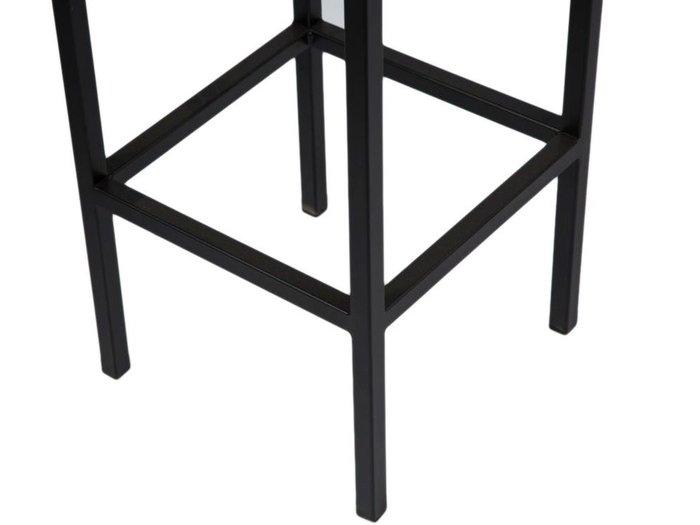 Обеденная группа из барной консоли и двух полубарных стульев черно-серого цвета