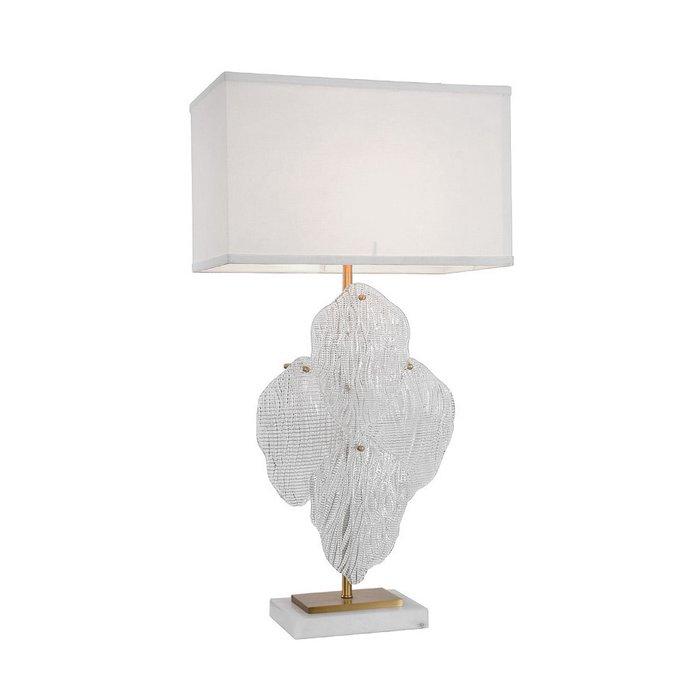 Настольная лампа Novida  с декором из прозрачных стеклянных листьев