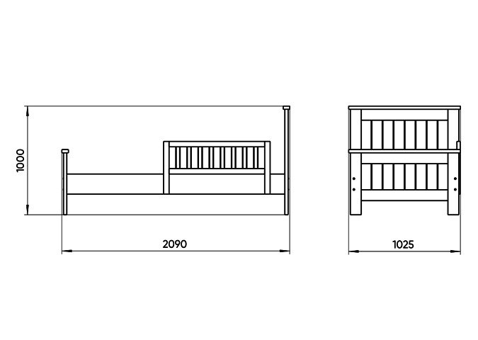 Кровать подростковая Wood 90х200 белого цвета