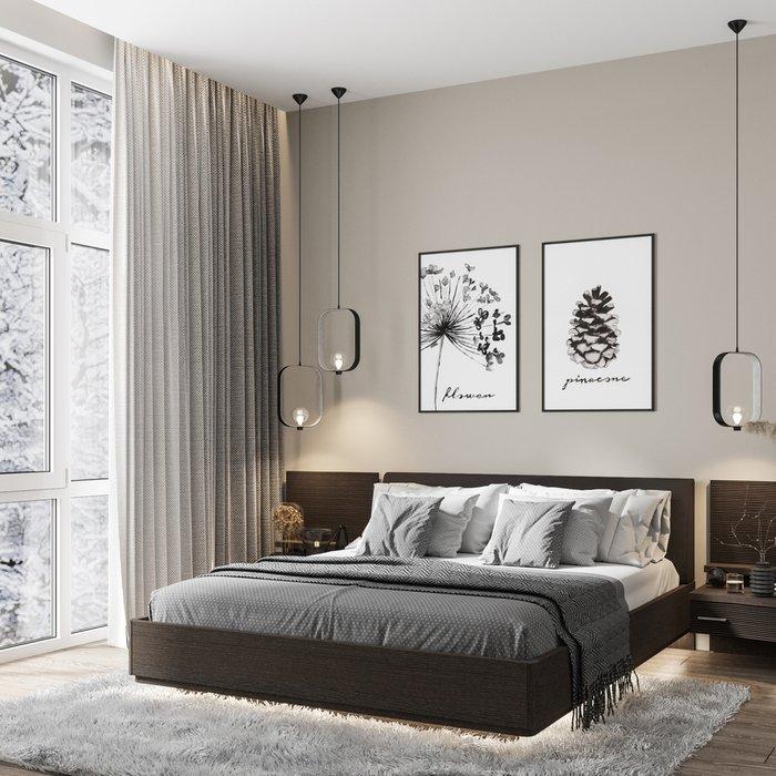 Кровать Элеонора 180х200 черного цвета с подъемным механизмом