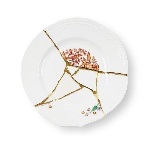 Тарелка Kintsugi из фарфора