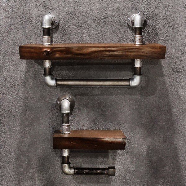 Набор из двух дубовых полочек для ванной Whiskey