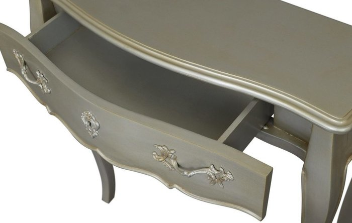 Консоль с ящиком цвета серебряный антик