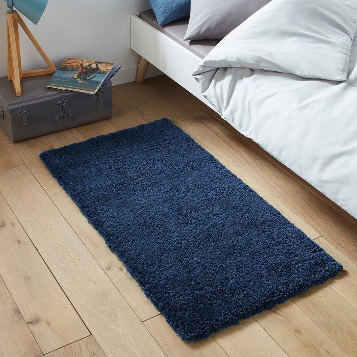 Прикроватный коврик Afaw из искусственной шерсти с длинным ворсом синего цвета 60x110 см