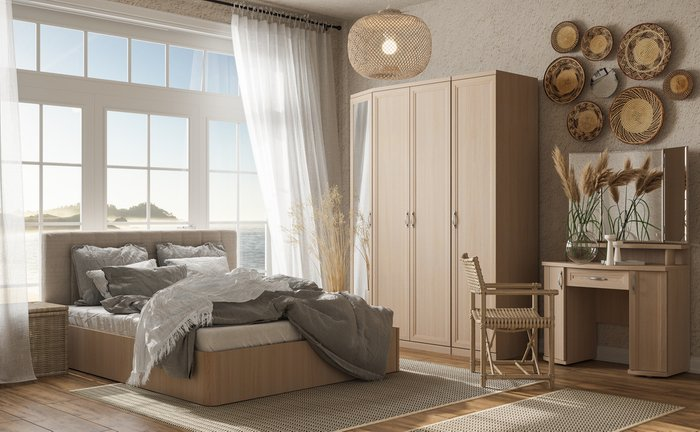 Кровать Магна 160х200 с изголовьем молочного цвета и подъемным механизмом