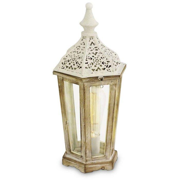Настольная лампа Vintage из дерева и стекла