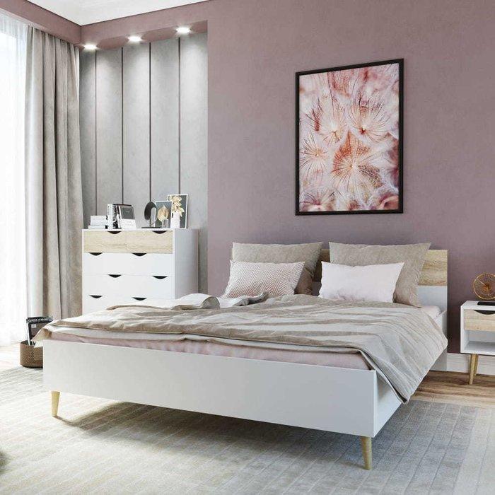 Кровать Oslo 140х200 с изголовьем цвета дуб