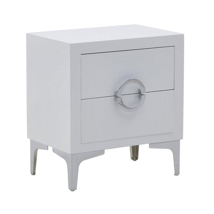 Тумба белого цвета с двумя ящиками