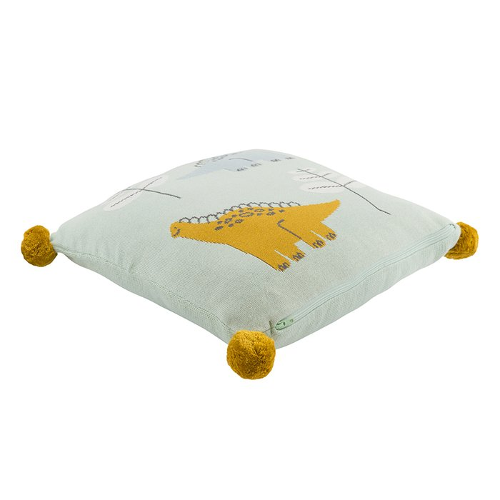 Подушка декоративная из хлопка с помпонами Динозавр toto 35х35