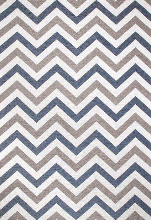Ковер Line Lokky серо-синего цвета 135х200