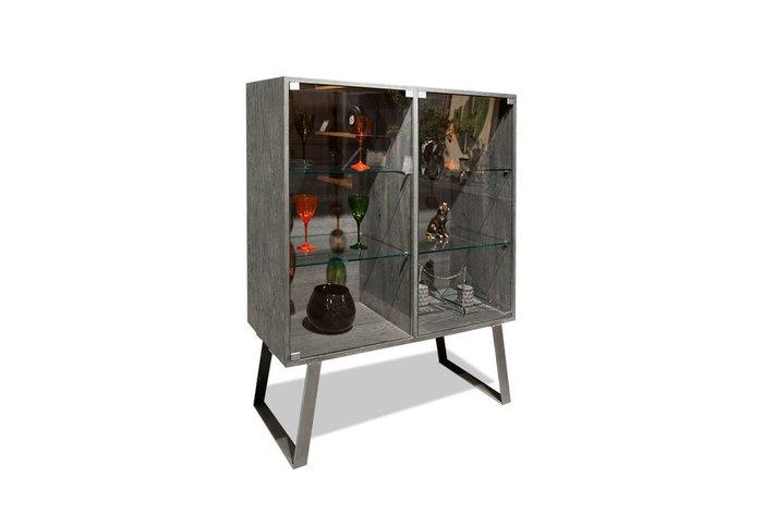 Шкаф с витриной Dillinger серого цвета (с подсветкой)