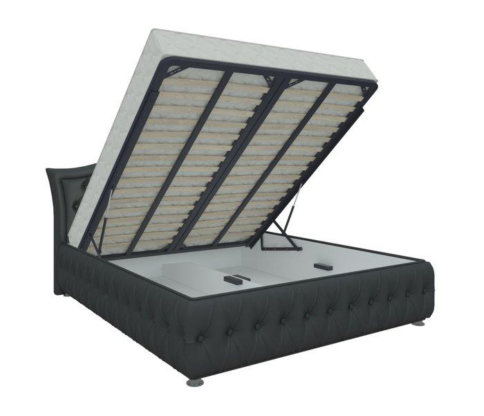 Кровать Герда 180х200 черного цвета с подъемным механизмом (экокожа)