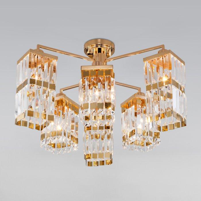 Потолочная хрустальная люстра Barra золотого цвета