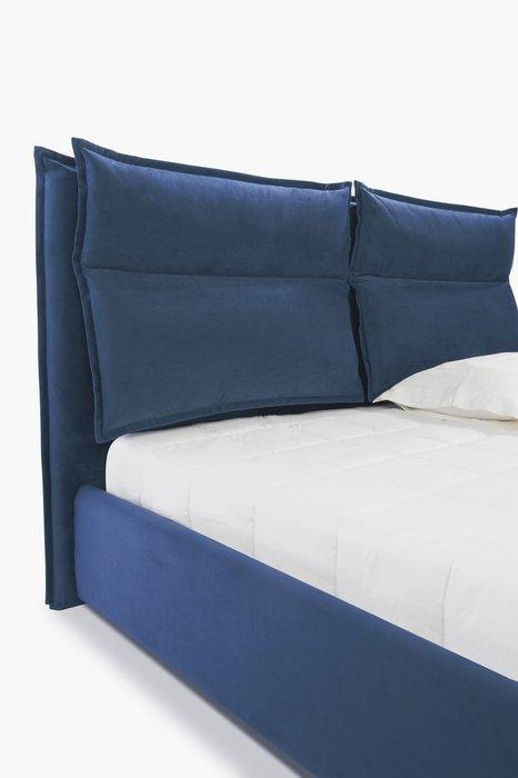 Кровать Wing 140х200 с подъемным механизмом темно-синего цвета