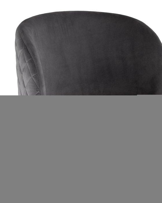 Барный стул Оскар вельвет серый стальные черные ножи