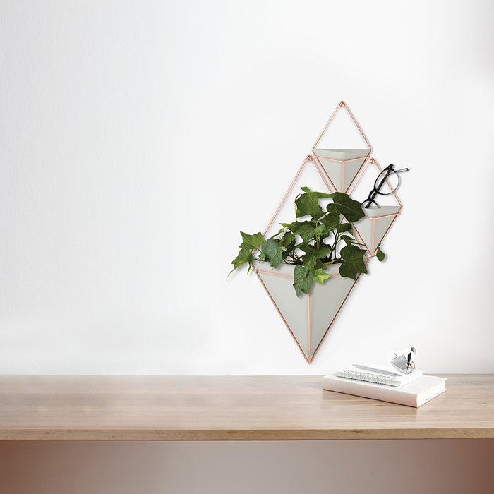 Декор для стен (набор из 2 штук) Umbra trigg бетон/медь