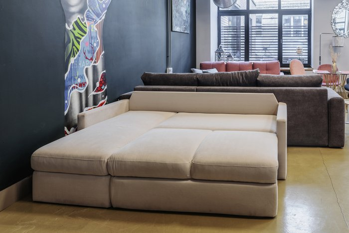 Угловой диван-кровать Винс голубого цвета