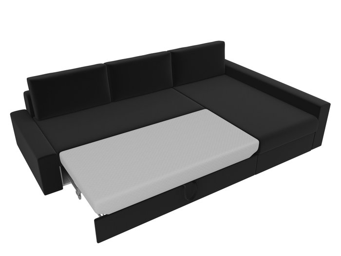 Угловой диван-кровать Версаль черного цвета