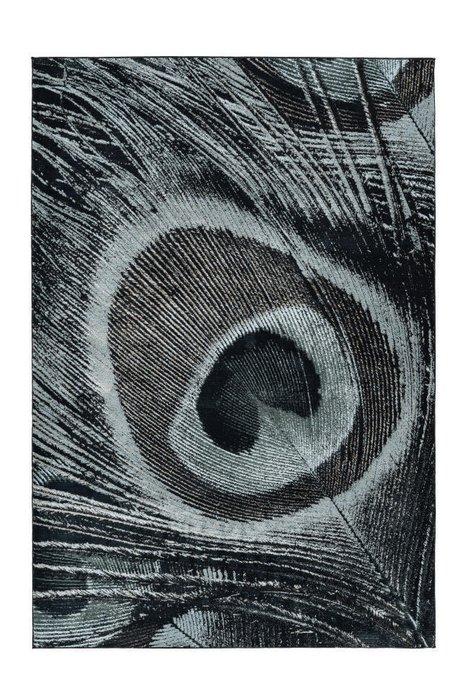 Рельефный ковер Greta Peacock темно-серого цвета 80х150