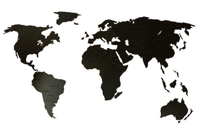 Деревянная карта мира Countries Rus с гравировкой черного цвета