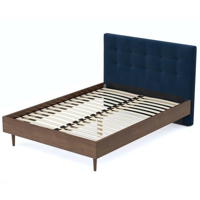 Кровать Альмена 140x200 коричнево-синего цвета