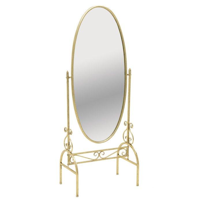Зеркало напольное в металлической раме золотого цвета
