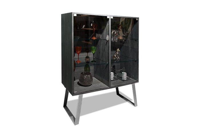 Шкаф с витриной Dillinger серого цвета