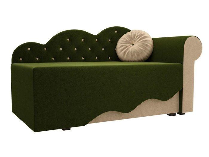 Диван-кровать Тедди бежево-зеленого цвета