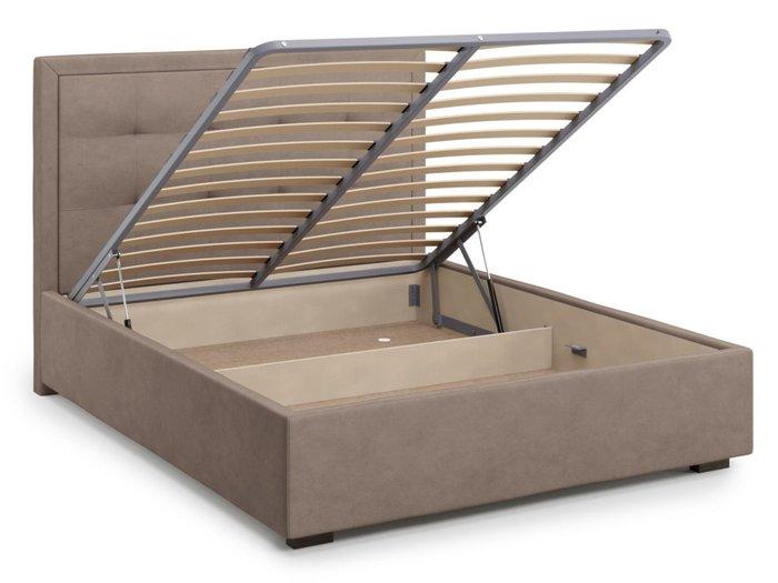 Кровать Komo 140х200 светло-коричневого цвета с подъемным механизмом
