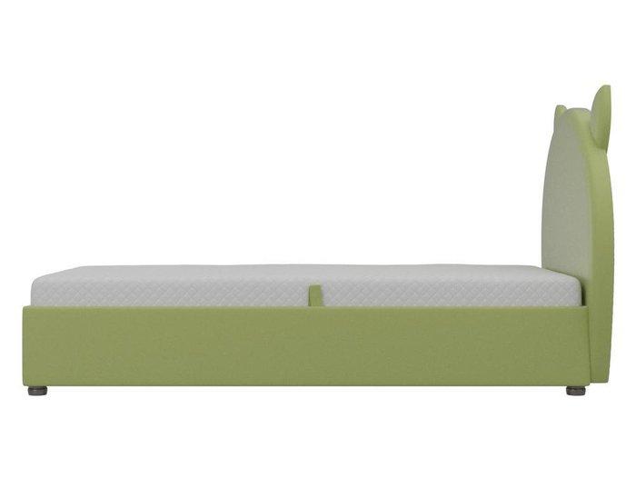 Детская кровать Бриони 82х188 зеленого цвета с подъемным механизмом (экокожа)