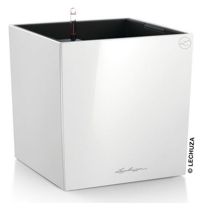 Кашпо Кьюб с системой полива белого цвета