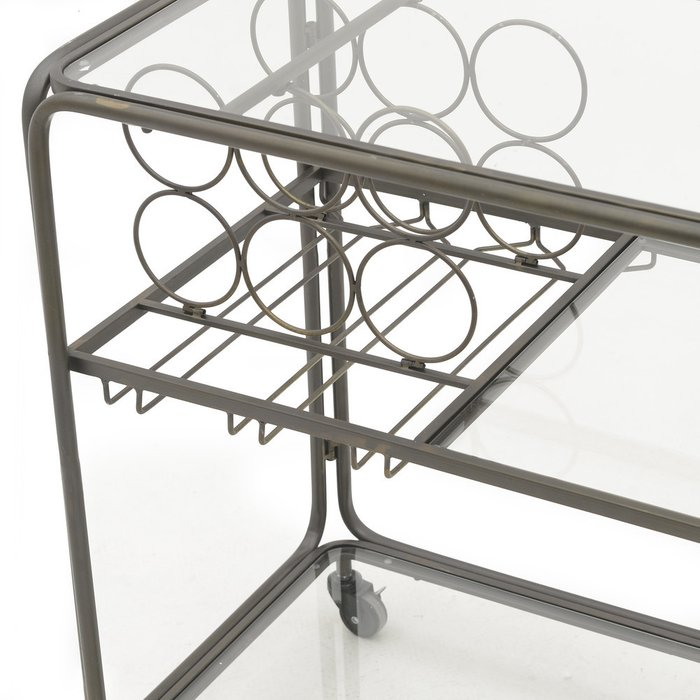 Стол-поднос на колесах из металла и стекла