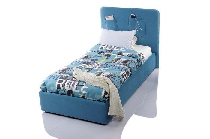 Кровать Fancy 90х200 с подъемным механизмом голубого цвета